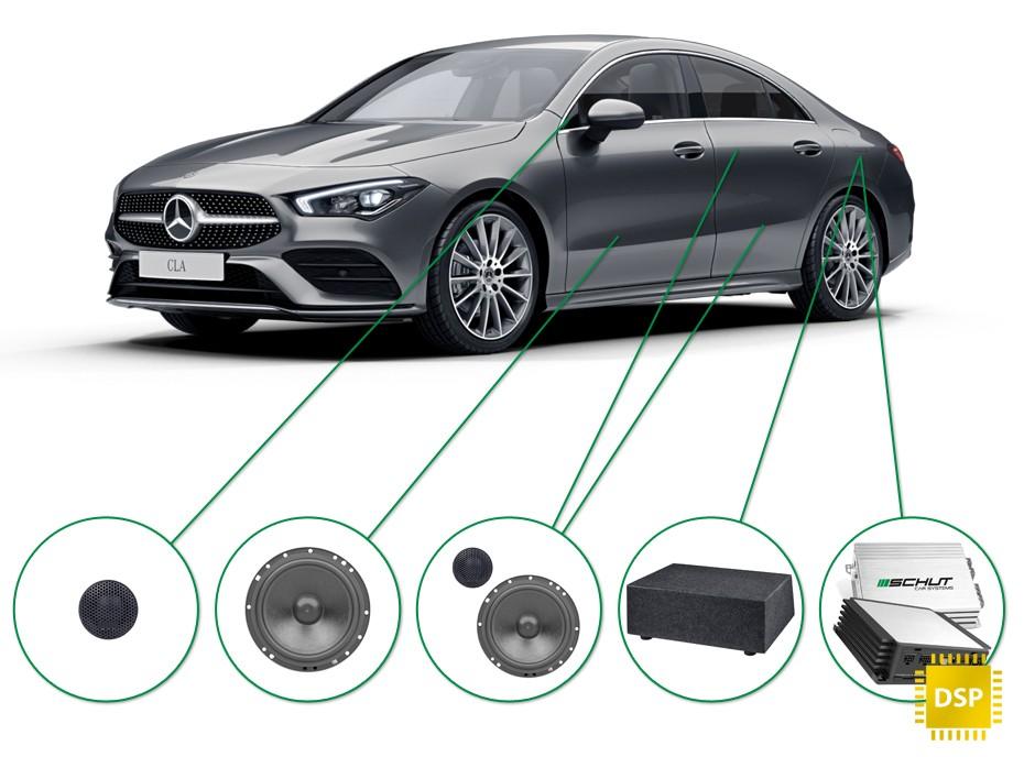 Mercedes CLA audio upgrade set 1
